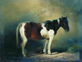 Николай Егорович Сверчков. Пегая лошадь. 1860