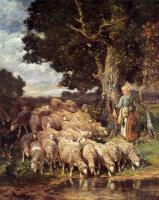 Шарль Эмиль Жак. Пастушка у ручья