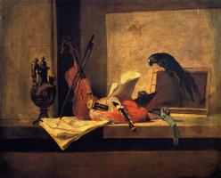 Жан Батист Симеон Шарден. Натюрморт с музыкальными инструментами и попугаем