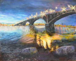 Александр Васильевич Кожевников. Вечером. мост.