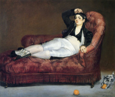 Young woman reclining in Spanish costume