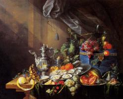 Корнелис де Хем. Натюрморт с лимоном и виноградом