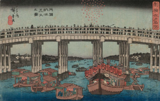 Utagawa Hiroshige. Fireworks in the cool evening on the bridge to Ryogoku, from the best views of Edo