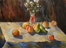 Дмитрий Александрович Мельников. Натюрморт с фруктами и вазой
