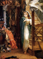 Arthur Hughes. In the pantry. Girl on the stairs
