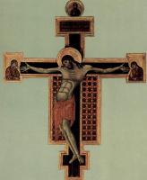Ченни ди Пепо Чимабуэ. Распятие, тондо: Благословляющий Христос, Распятие: Мария и Иоанн
