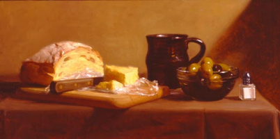 Patricia Watwood. Still life with bread and olives