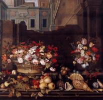 Балтазар ван дер Аст. Натюрморт с корзиной цветов, фруктами, раковинами на фоне здания