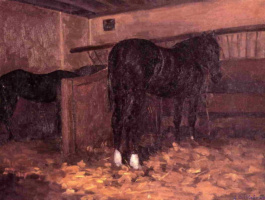 Гюстав Кайботт. Лошади в стойле