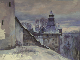 Oleg Borisovich Zakharov. Evening in Pechory. ( neocon. )