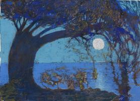 Ernst Fuchs. The moon over the sea