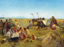 Konstantin Makovsky. Farm dinner at harvest time