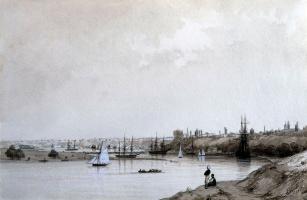 Ivan Aivazovsky. The view of the city of Nikolaev