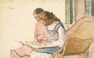 Уинслоу Хомер. Две девушки с книгой