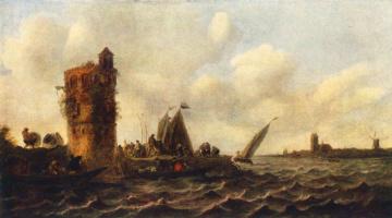 Ян ван Гойен. Вид на Маас возле Дордрехта