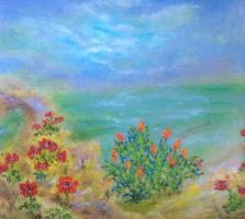 Рита Аркадьевна Бекман. Зимний день на берегу Средиземного моря, на кактусах свечи зажглись