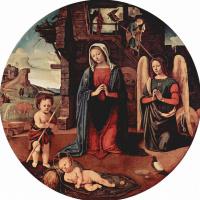 Пьеро ди Козимо. Поклонение младенцу, сцена: Мария, младенец Христос, коленопреклоненный ангел, св. Иоанн Креститель, тондо