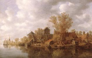 Ян ван Гойен. Деревня возле реки