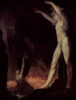 Иоганн Генрих Фюссли. Сатана обращается к озорнику, горящему в адском огне