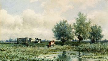 Виллем Рулофс. Летний пейзаж с пасущимися коровами