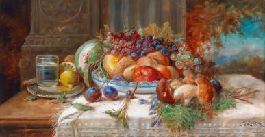Ханс Зацка. Натюрморт с фруктами и грибами.