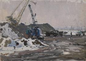 Павел Петрович Токмаков (1924-2002). Песок для портовой конструкции