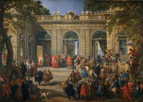 Джованни Паоло Паннини. Король Карл III посещает Папу Бенедикта XIV в Кофейном павильоне дворца Квиринале