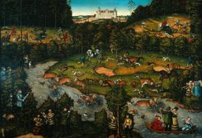 Deer hunting near the castle Hartenfels