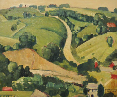 Grant Wood. The stone city. Sketch