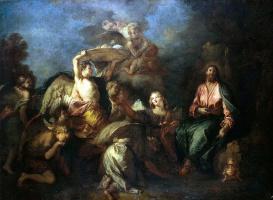 Шарль Де Лафосс. Христос в пустыне, окруженный ангелами