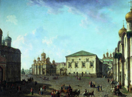 The square before the Dormition Cathedral in the Moscow Kremlin.