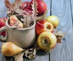 Савелий Камский. Осенний натюрморт с яблоками и грушами