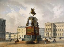 Карл Карлович Шульц. Вид памятника Николаю I на Исаакиевской площади