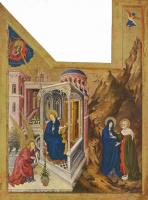 Мельхиор Брудерлам. Алтарь Филиппа Смелого, герцога Бургундского, левая створка: Благовещение и Встреча Марии и Елизаветы
