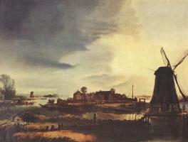 Арт ван дер Нер. Пейзаж с мельницами