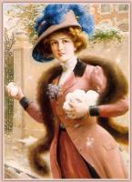 Эмиль Вернон. Элегантная дама играет в снежки