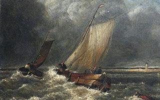 Fishing boats in a strong wind