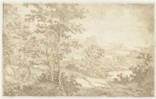 Ян Бот. Горный пейзаж с дорогой вдоль реки