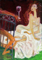 Zakir AHMED Ahmedov. .In Bed 2013year27x19in Original Painting Oil on Canvas