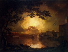 Joseph Wright. Fireworks at Castel Sant Angelo in Rome