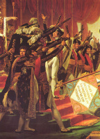 Jacques-Louis David. The oath of the troops the Emperor after the distribution of the banners on the Champ de Mars in Paris on 5 December 1804. Detail