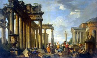 Giovanni Paolo Pannini. Sibyl sermon in Roman ruins with the statue of Apollo