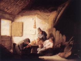 Адриан Янс ван Остаде. Сельская таверна с четырьмя фигурами