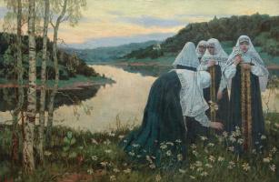 Mikhail Vasilyevich Nesterov. Novices on the river
