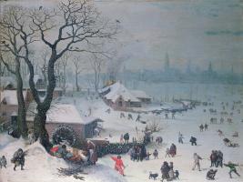 Лукас ван Фалькенборх. Зимний пейзаж близ Антверпена во время снегопада