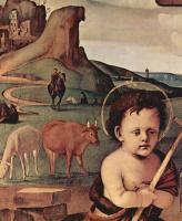 Пьеро ди Козимо. Поклонение младенцу, сцена: Мария, младенец Христос, коленопреклоненный ангел, св. Иоанн Креститель, деталь, тондо