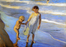 Joaquin Sorolla (Soroya). Valencia two little girls on the beach