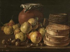 Луис Мелендес. Натюрморт с яблоками, орехами, коробками конфет