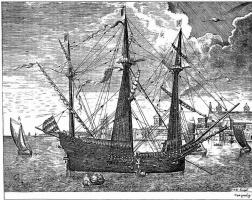 Питер Брейгель Старший. Парусный корабль, входящий в порт