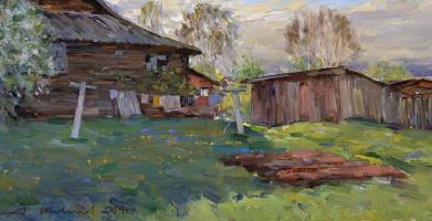 Alexander Victorovich Shevelyov. Evening in the village.Hardboard,oil, 32 x 60 cm 2014